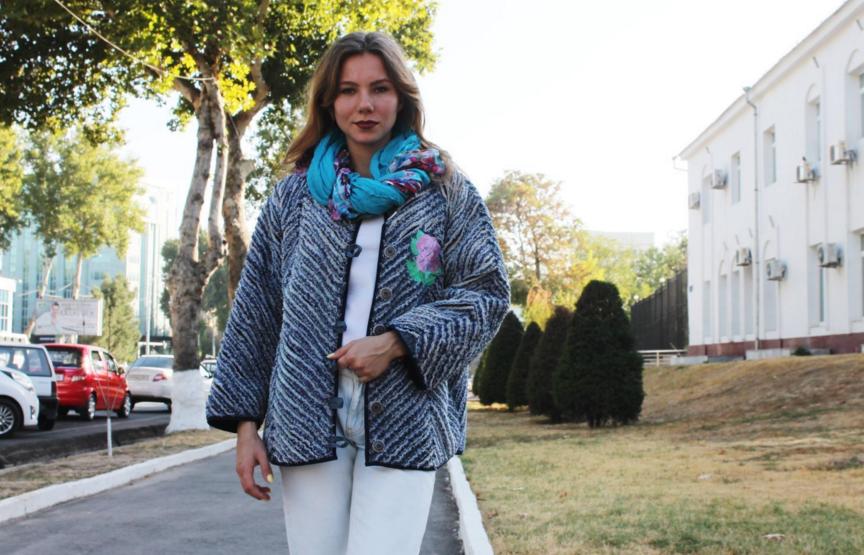 Джинсовая куртка с рукавами синель